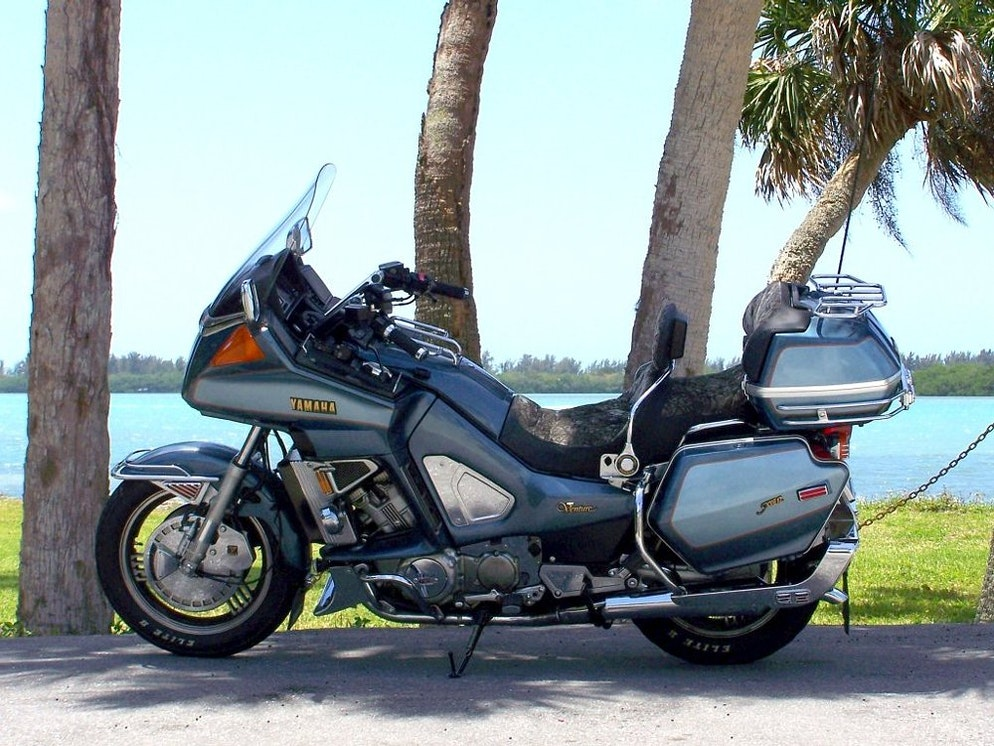 The V-four past behind the V-twin Yamaha Star Venture and
