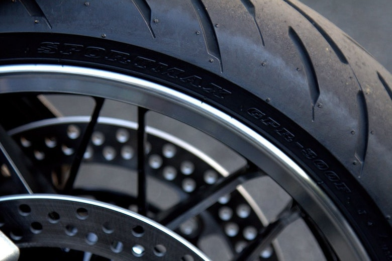 Check motorcycle tire tread