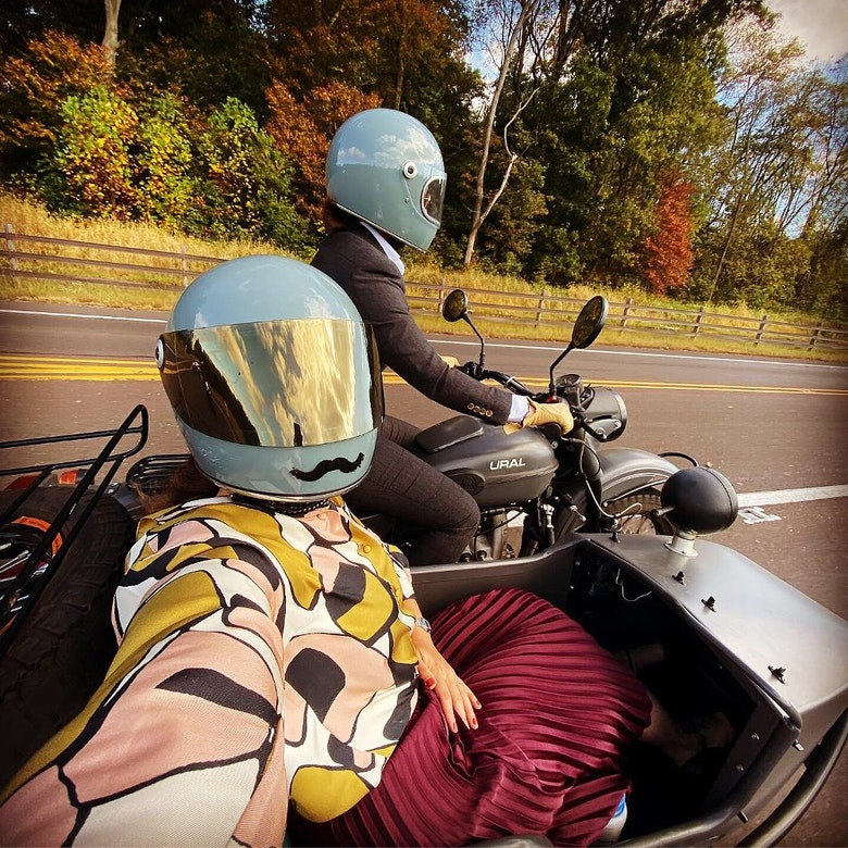 Ural with a sidecar taking a selfie wearing a Biltwell Gringo S Helmet